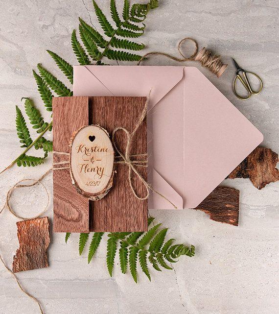 Rustic Wedding Invitation 20 Real Wood by 4invitationwedding