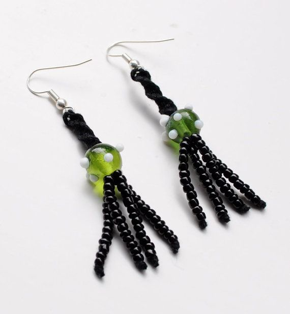 Green glass beads and black macrame by Seaberryaccessories on Etsy, £4.50