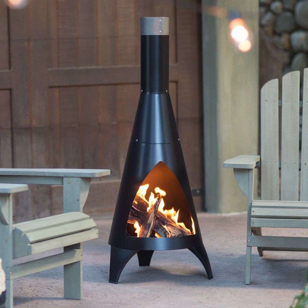 Elegant Modern Alto Steel Chiminea Wood Burning Outdoor Patio Heater   Deep Black |  EBay