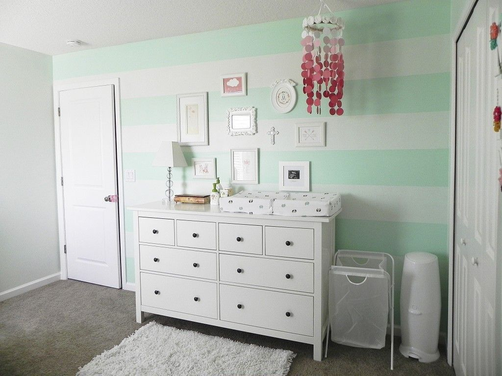 mia 39 s mint green coral botanical nature nursery nursery stripes nursery and walls. Black Bedroom Furniture Sets. Home Design Ideas