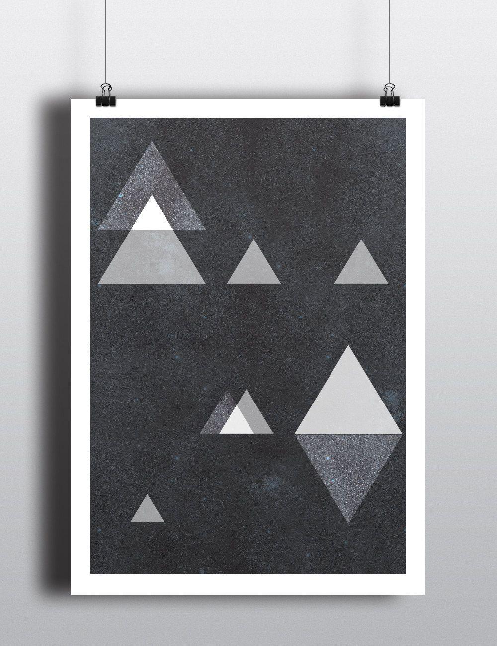 Poster design monochrome - Triangles Odyssey Poster Abstract Art 18x24 Minimalist Art Geometric Print