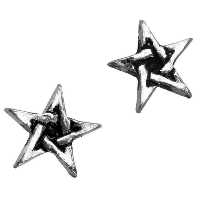 Pentagram Mini Pewter Stud Earrings -by Alchemy England 1977