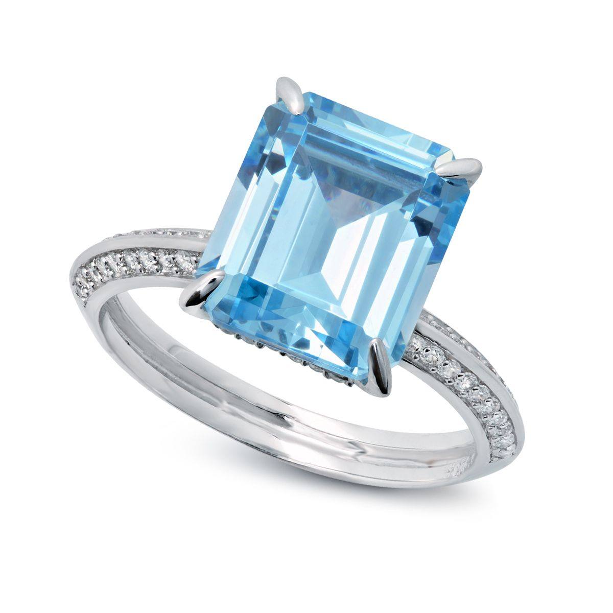 CRISLU Aquamarine Colored CZ Ring