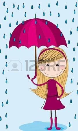 Linda Chica Con Paraguas Y Las Gotas De Lluvia Sobre Fondo Azul Gotas De Lluvia Paraguas Manualidades De Papel Para Niños