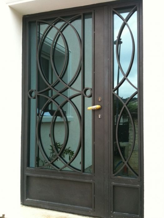 Porte en fer forg fachada portas port es grade ferro madeira alum nio - Porte en fer forge exterieur ...