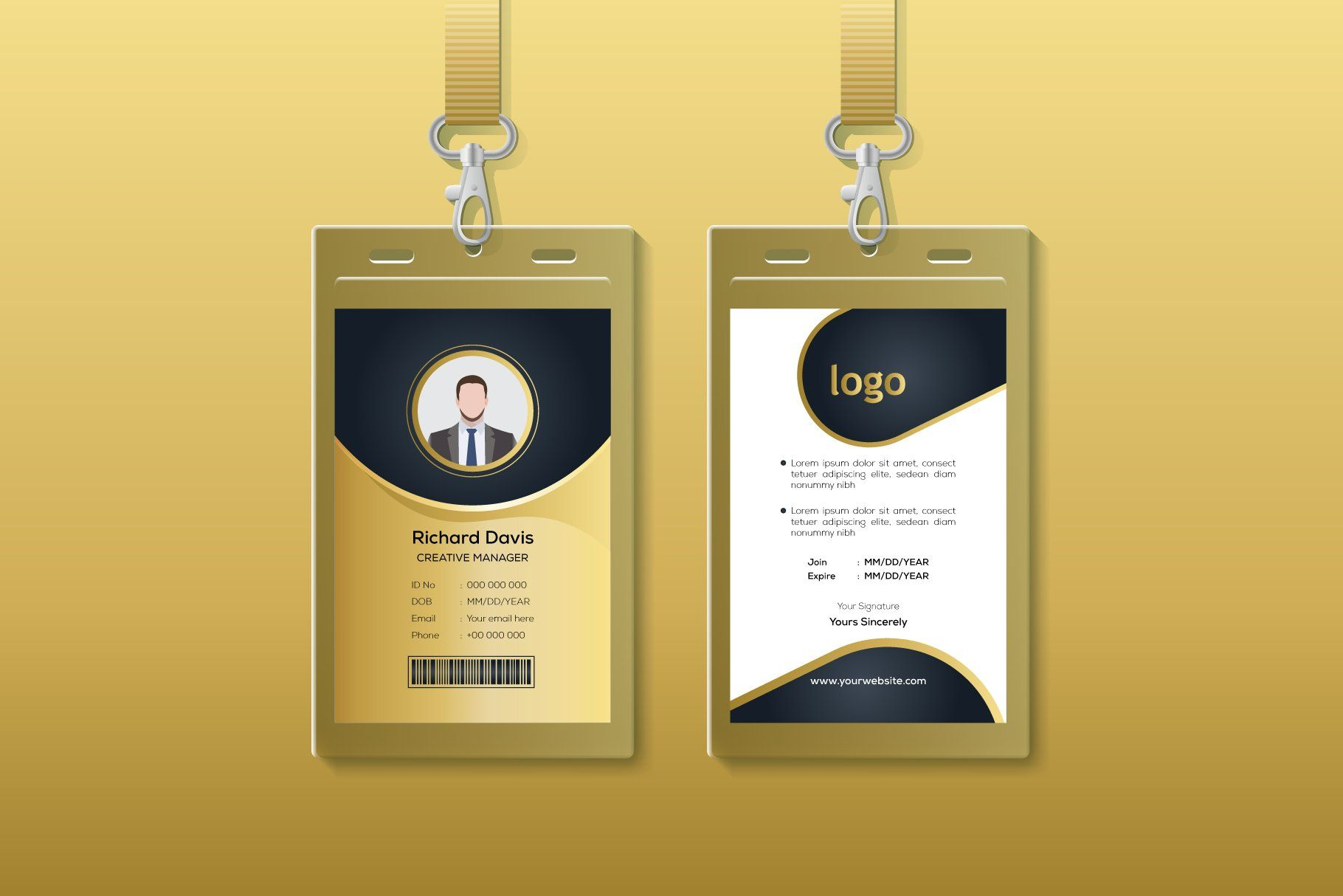 Modern Golden Id Card Design Card Design Design Template Design