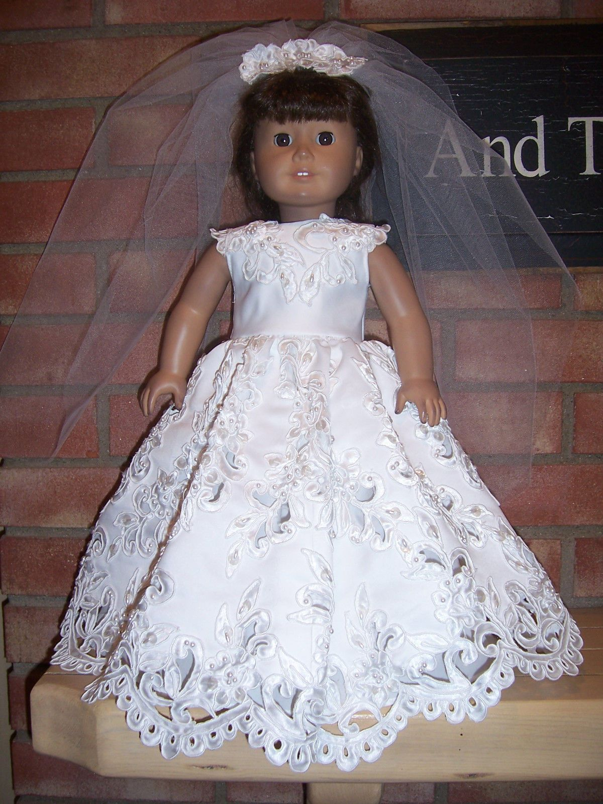 American Girl Doll Clothes Lace Cutout Wedding Dress Set