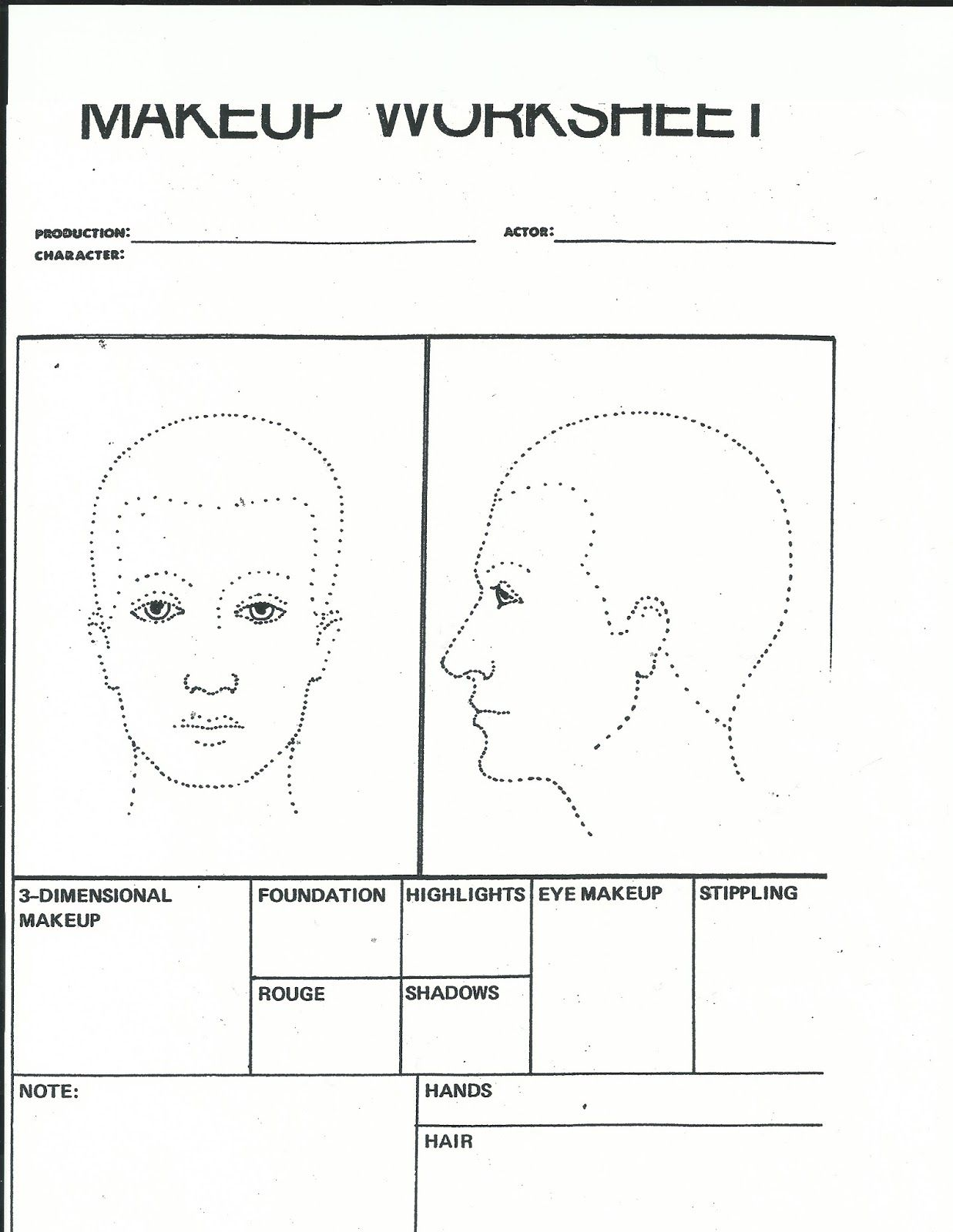 Hair Makeup Worksheet  Makeup Vidalondon  Morgue