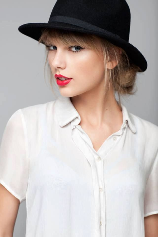 Taylor Swift Bold Red Lips White Button Down Shirt Black Hat