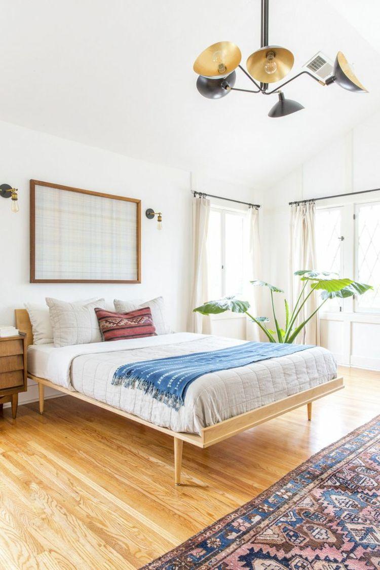 Schlafzimmer einrichtung trend bett minimalistisch parkett orientteppich theke schlafzimmer - Bett minimalistisch ...