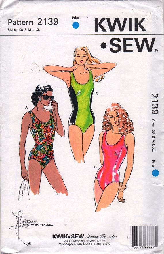 Kwik Sew 2139 Misses Princess Line One Piece Swimsuit Pattern 1990s ...