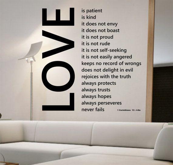 Love Wall Decal LOVE IS PATIENT Sticker Art Decor Bedroom Design ...