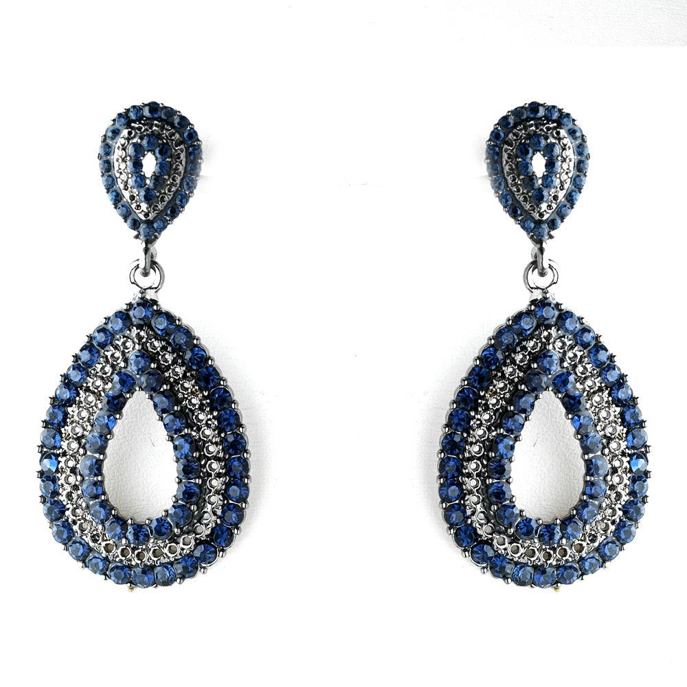 Navy Blue Crystal Wedding And Prom Earrings