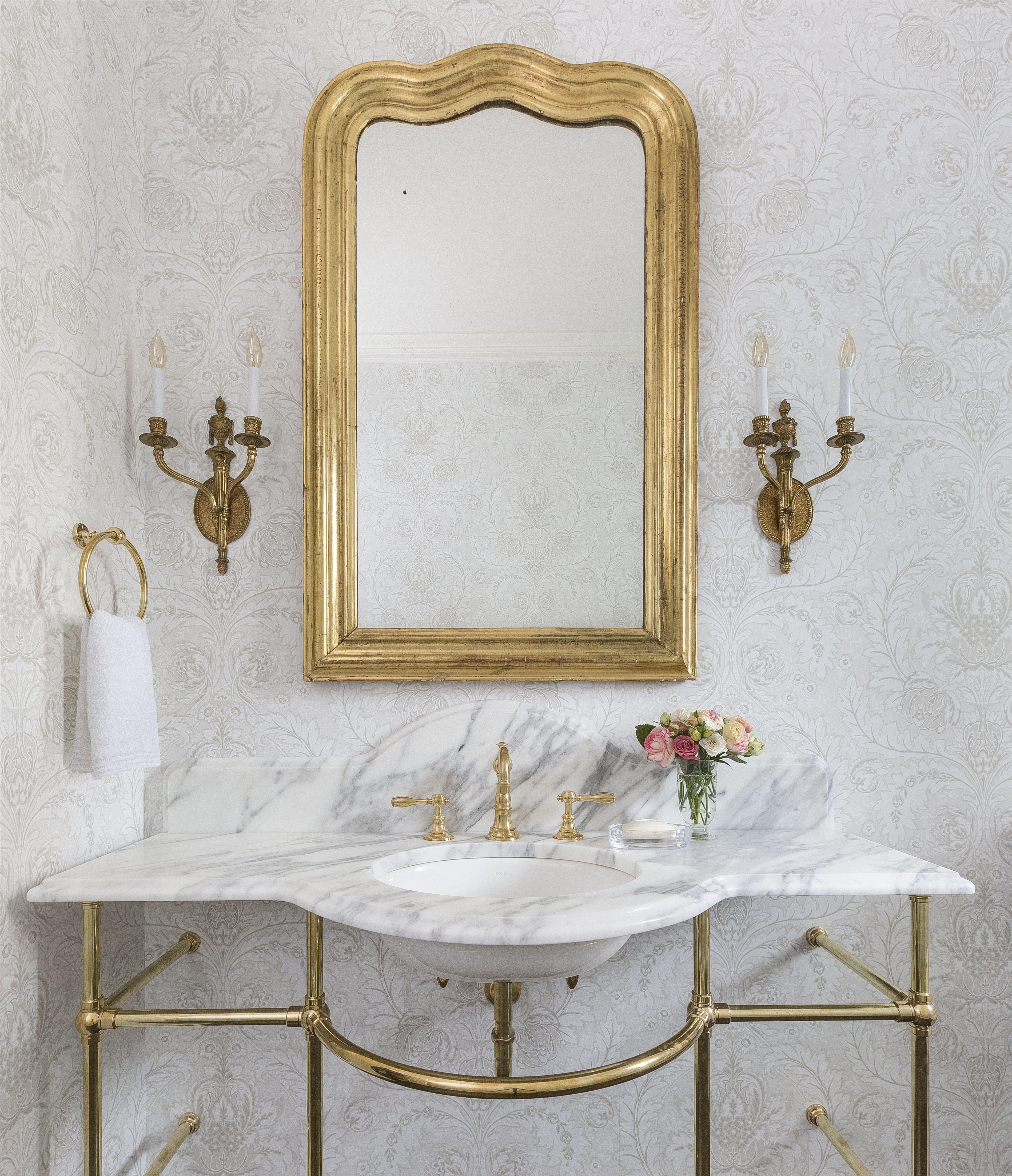powder bathroom featuring custom washstand and antique on custom bathroom vanity mirrors id=54371