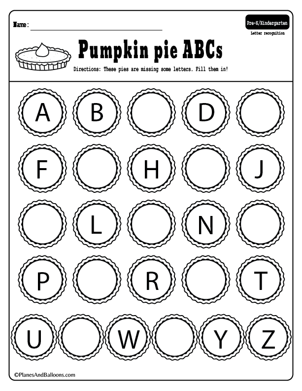 Free printable ABC kindergarten activities for the holiday