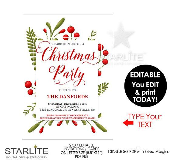 Christmas Party Invitation, Christmas Party Invitation Elegant