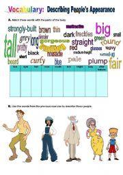 english worksheet describing people s appearance edu pinterest worksheets english and people. Black Bedroom Furniture Sets. Home Design Ideas