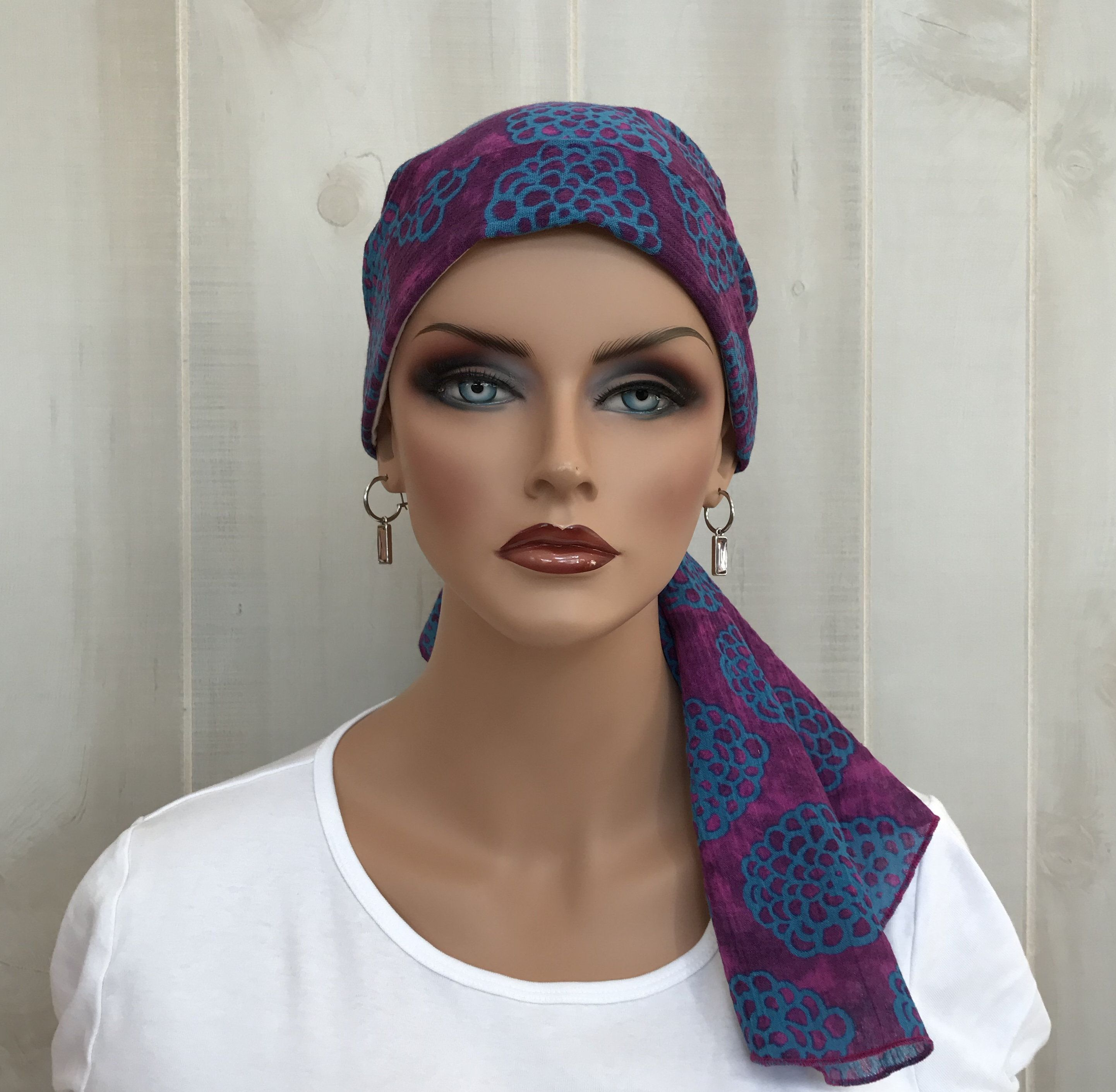 May Sale...Buy 2, Get 20% Off!  This is our 'Carlee' Pre-Tied Head Scarf for women with #hairloss. #Cancer #Headwear #Chemo #HeadCover #Alopecia #Hat #HeadWrap #Turban #pretied #headscarf  #CancerGift #Purple #Flowers #carleescarf #lovemyIHC #tieheadscarves