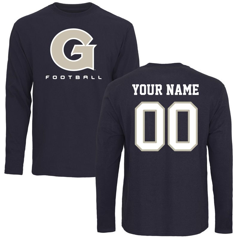 the best attitude f2bc4 75ea4 Georgetown Hoyas Personalized Football Long Sleeve T-Shirt - Navy