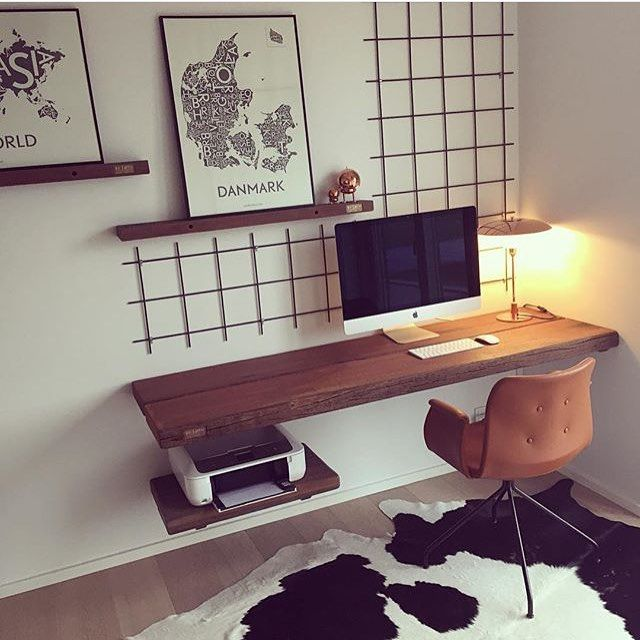 Study office inspiration wall mounted desk keep it for Office desk design inspiration