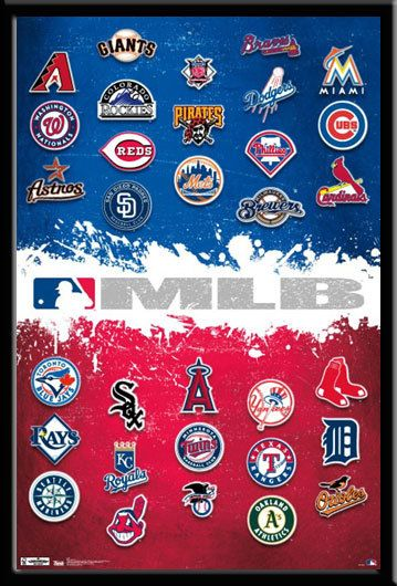 MLB Team Logo Poster With All American League And National