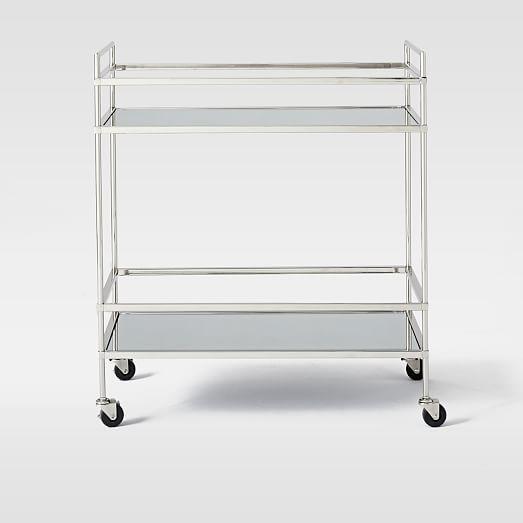 """Terrace Bar Cart   27.8""""w x 14""""d x 31.75""""h. Glass top shelf; mirrored bottom shelf"""
