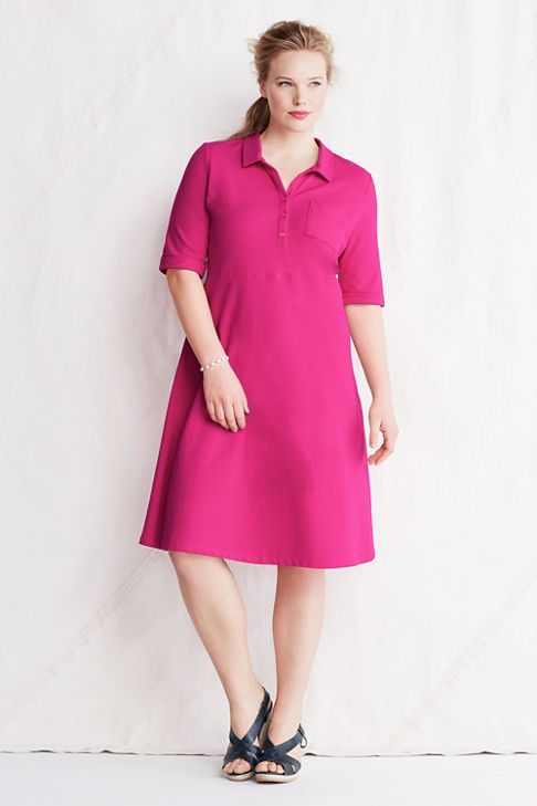 Plus Size Loose A-Line Seamed Polo Dress from Lands\' End | In Style ...
