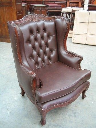 Wing Back Chair Antique Mahogany - RRP $1499 Solid mahogany Louis and Victorian inspired wing back chair. WE ALSO MAKE THIS ITEM