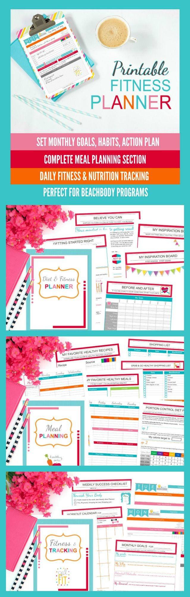 Printable Diet & Fitness planner to set monthly goals, map ...
