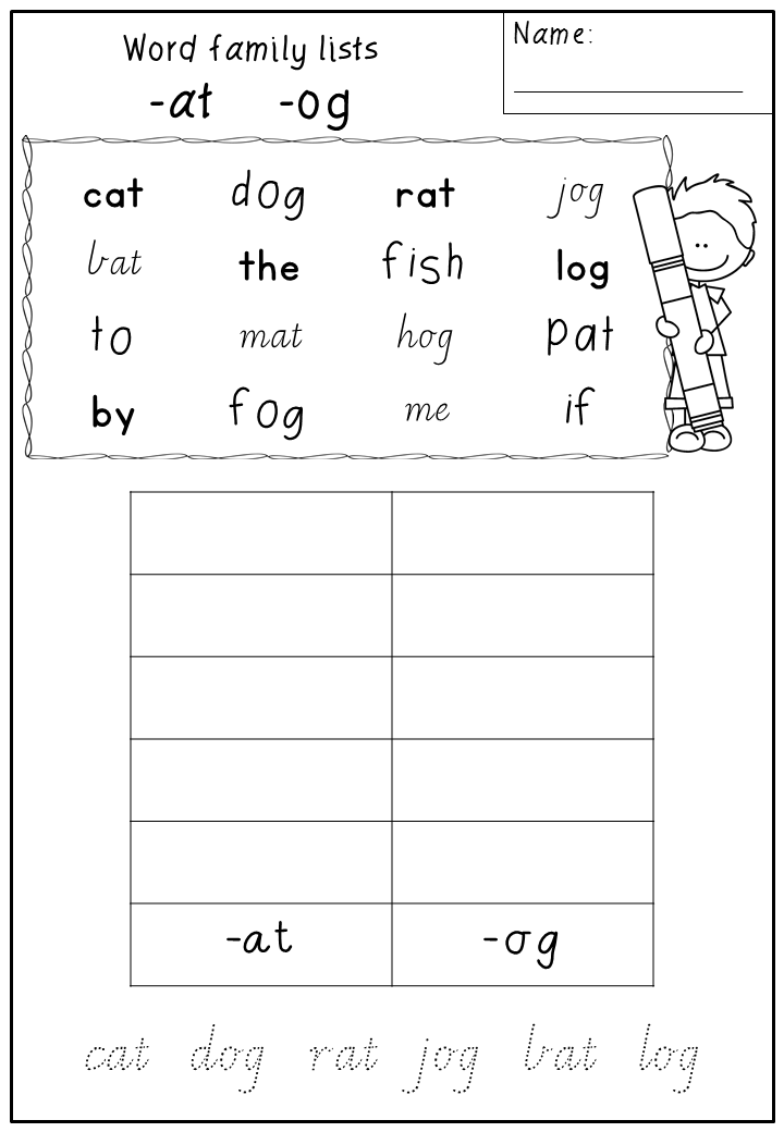 New product: Word Family List Worksheets   Word families ...