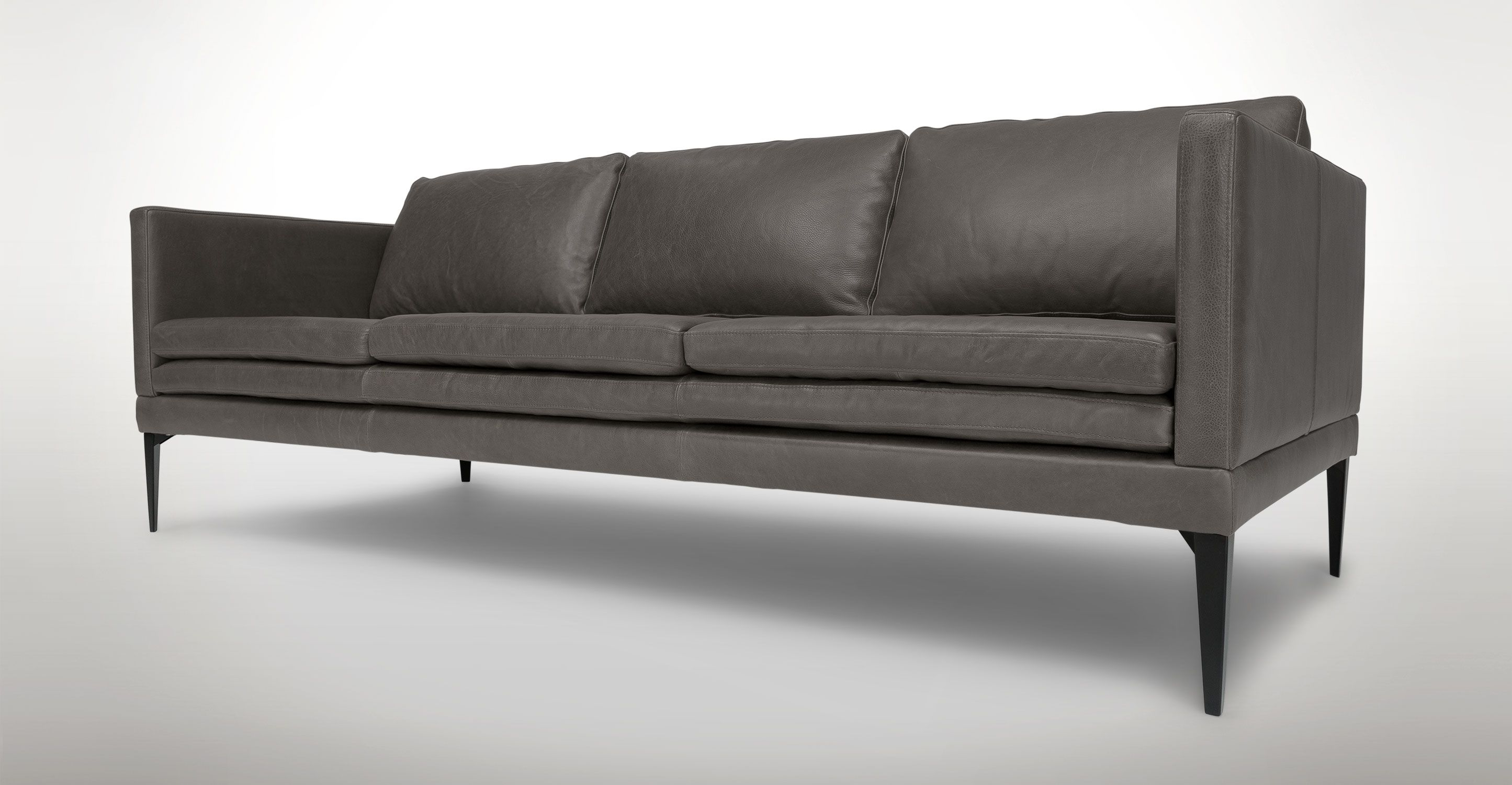Gray Leather Sofa With Metal Legs