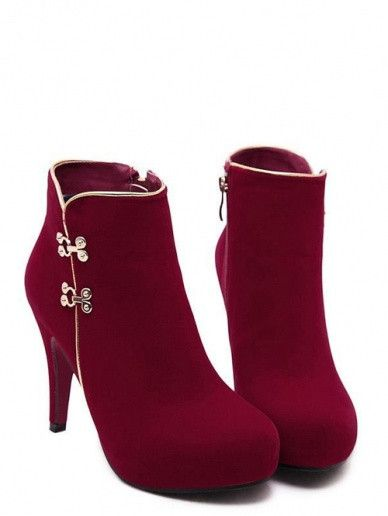 47b7e5fafe27 Stylish Metal Stud Pure Color Sexy Round Toe Slim Heel Women Red Boots