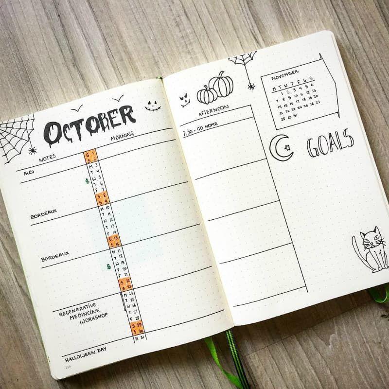 40+ Halloween Spreads For Your Bullet Journal #halloweenbulletjournal