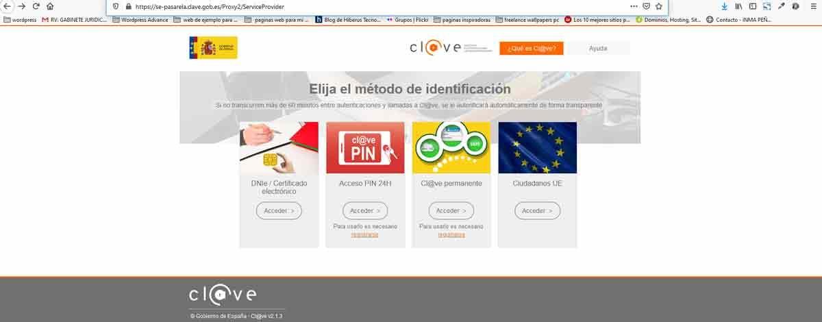 pantalla de entrada en el navegador de nuestro ordenador