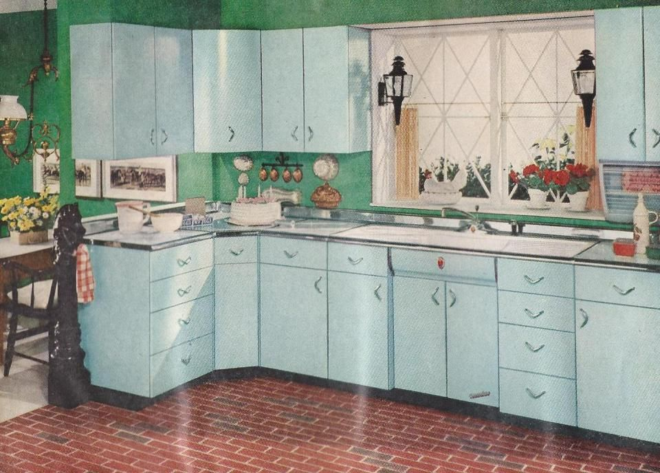 Better Homes Gardens 1950s Kitchen with blue cabinets and brick