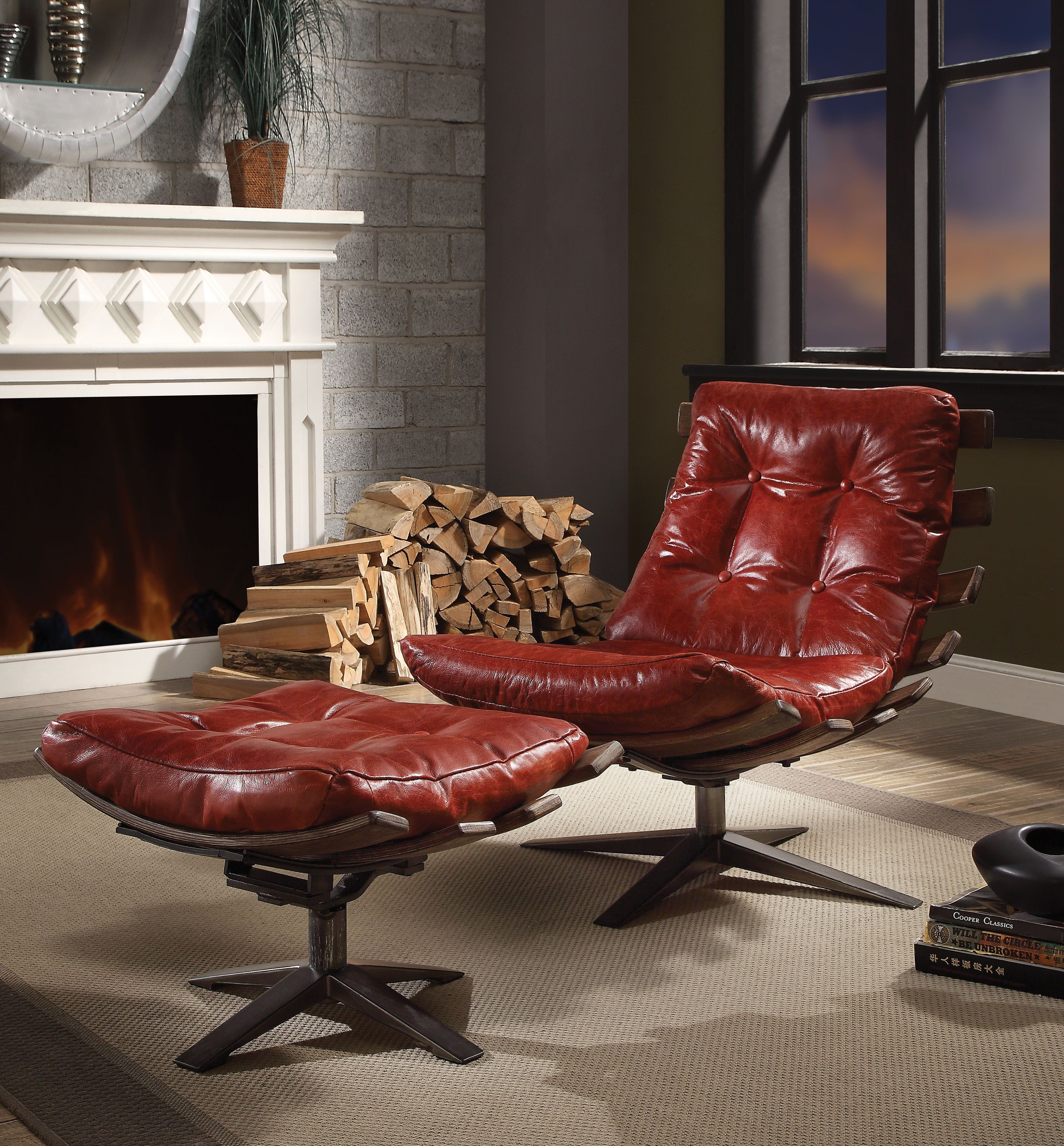ACME Gandy 2 Piece Chair and Ottoman in Antique Red Top