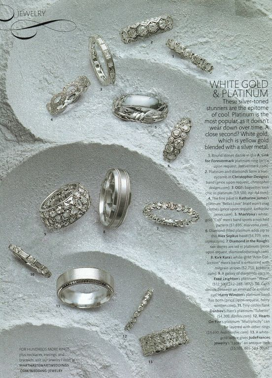 A natural rough diamond Eternity band is featured here in Martha Stewart Weddings.