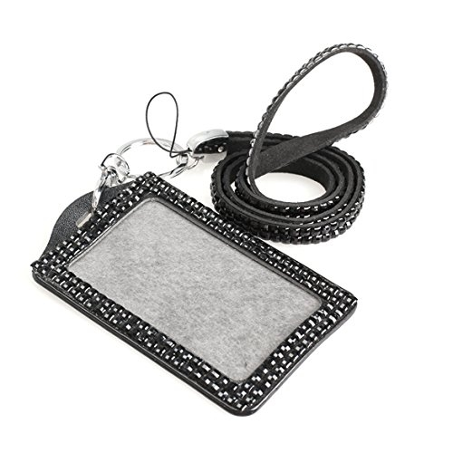 1.55$  Know more - ASDS-Rhinestone Crystal Work Card ID Case Holder Lanyard Sling (Black)   #aliexpresschina