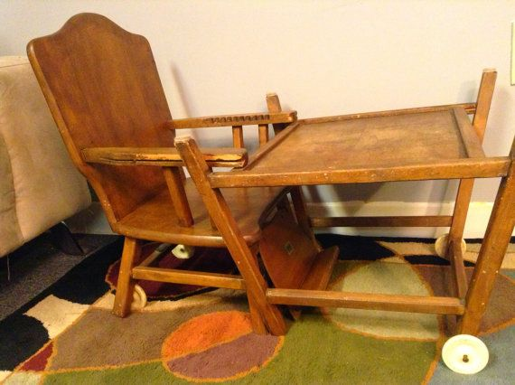 1950's Thayer Tops For Tots High Chair Convertible Desk by HUEisit, $115.00  - 1950's Thayer - Antique Convertible High Chair Antique Furniture