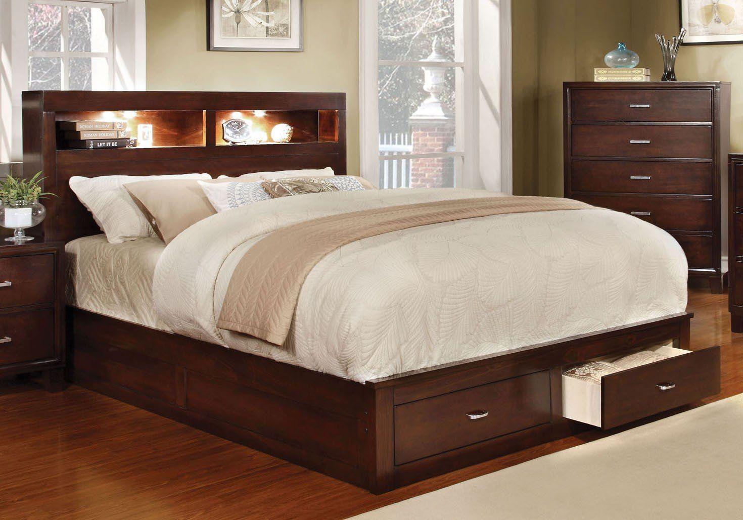 Gerico II CM7291CH-Q Brown Cherry Finish Queen Storage Platform Bed