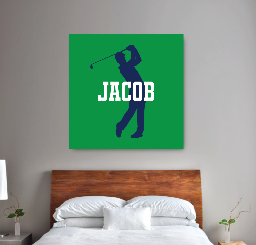Personalized Monogram Wall Art Canvas. Golf Themed Room Decor For Boys.  Personalized Wall Art
