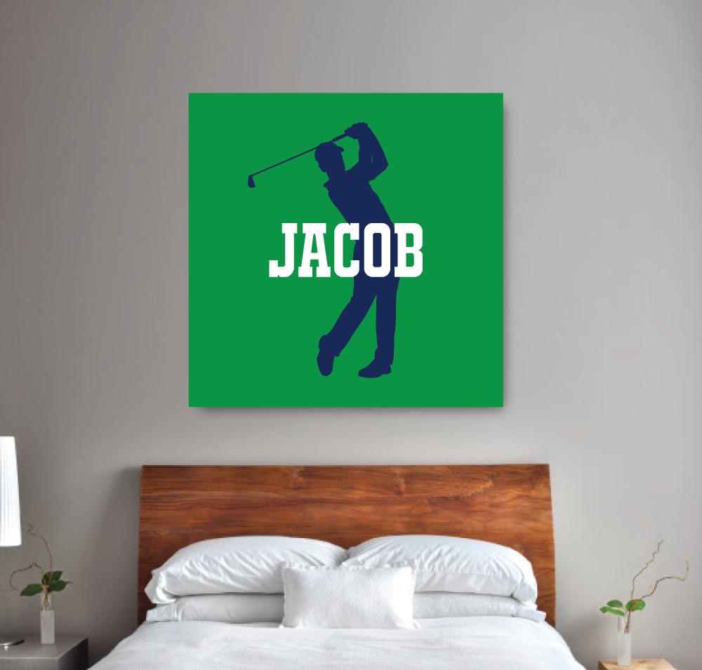 Personalized Monogram Wall Art Canvas Golf Themed Room Decor For Boys Custom Golfer Bedroom Guys