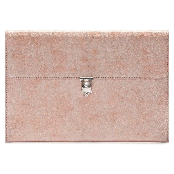1ce00d177de Alexander McQueen Metallic Leather Envelope Clutch ($745) ❤ liked ...