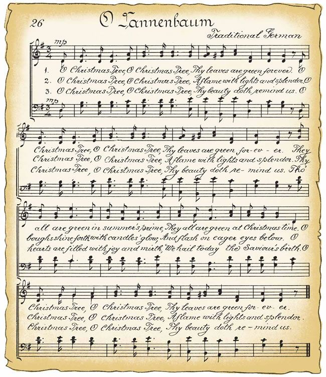 Free Vintage Clip Art - Vintage Christmas Song Sheet and Candy ...