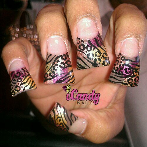 Zebra Nail Designs With Zebra And Cheetah Designs On Giant