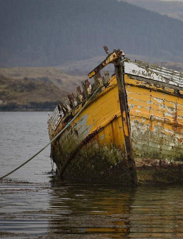 An old beauty left adrift. West Coast, Scotland. Photographs (detail) by Steve Richard.