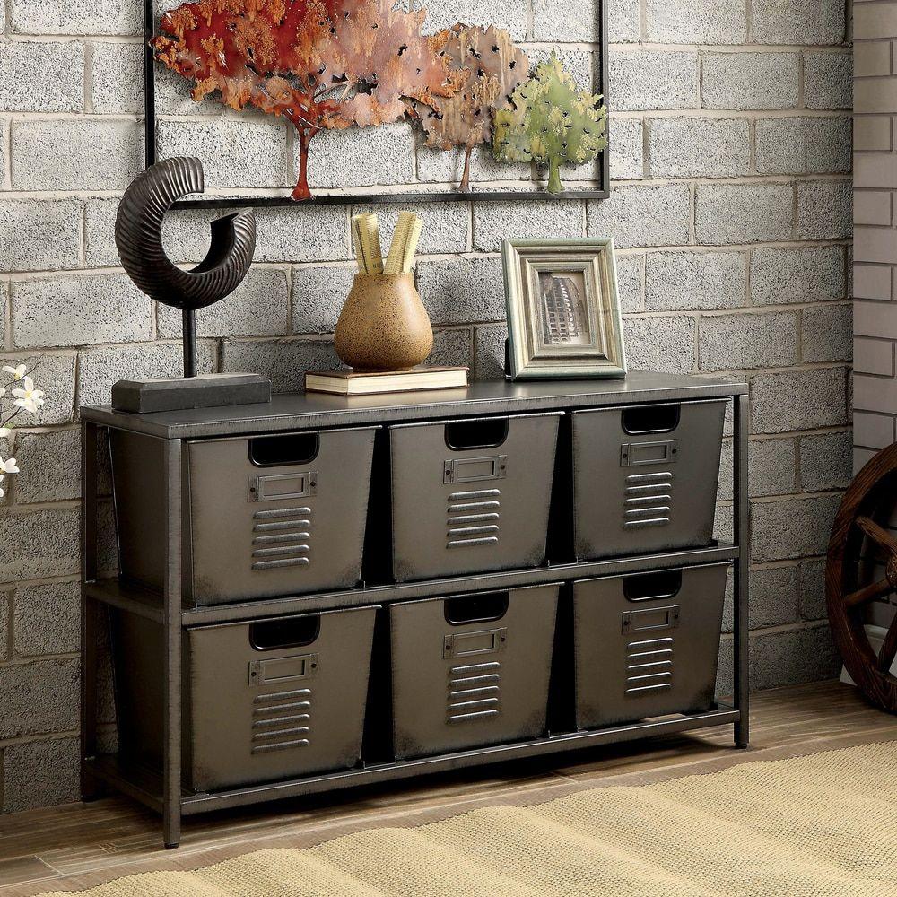 Furniture of america copern industrial gun metal storage shelf with