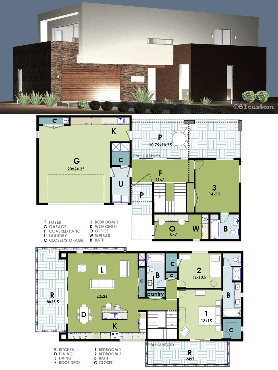 Modern Live Work House Plan 61custom Modern House