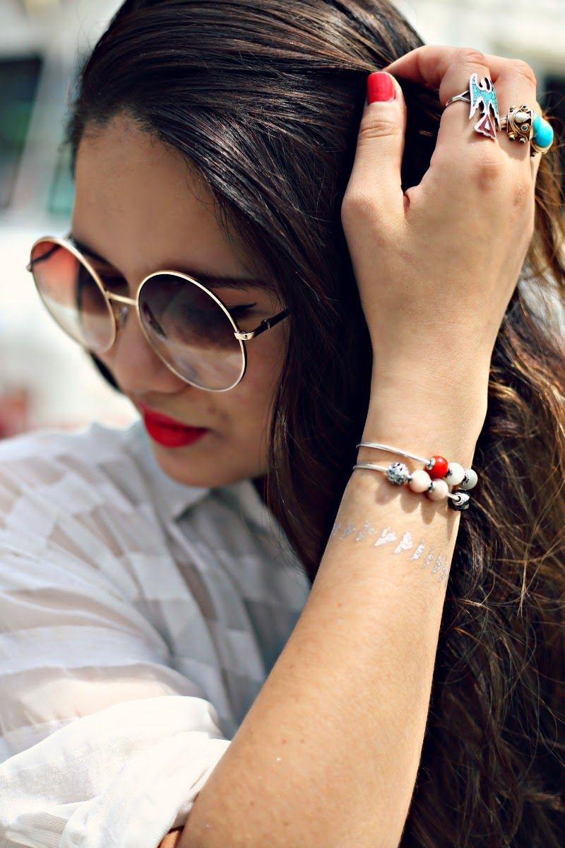 f19ed4a856c Summer style with red lips and  PANDORAessencecollection bracelet. Find  this Pin and more on Pandora Essence Collection ...