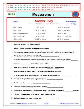 Bill Nye** Measurement A Differentiated Worksheet, Answer Sheet ...